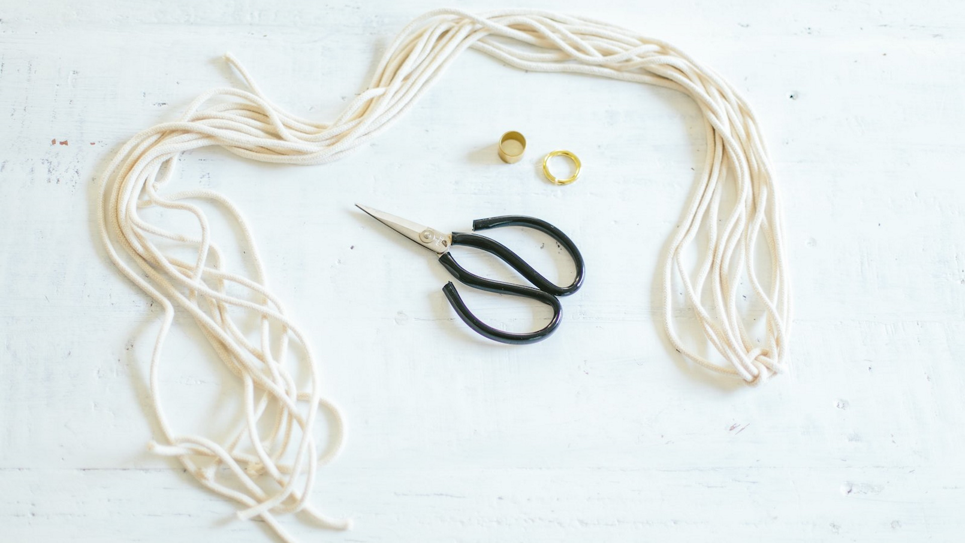 Macrame cord and scissors