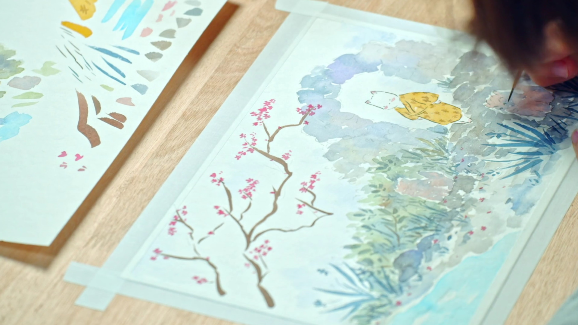 Watercolor illustration with Japanese influence Domestika course