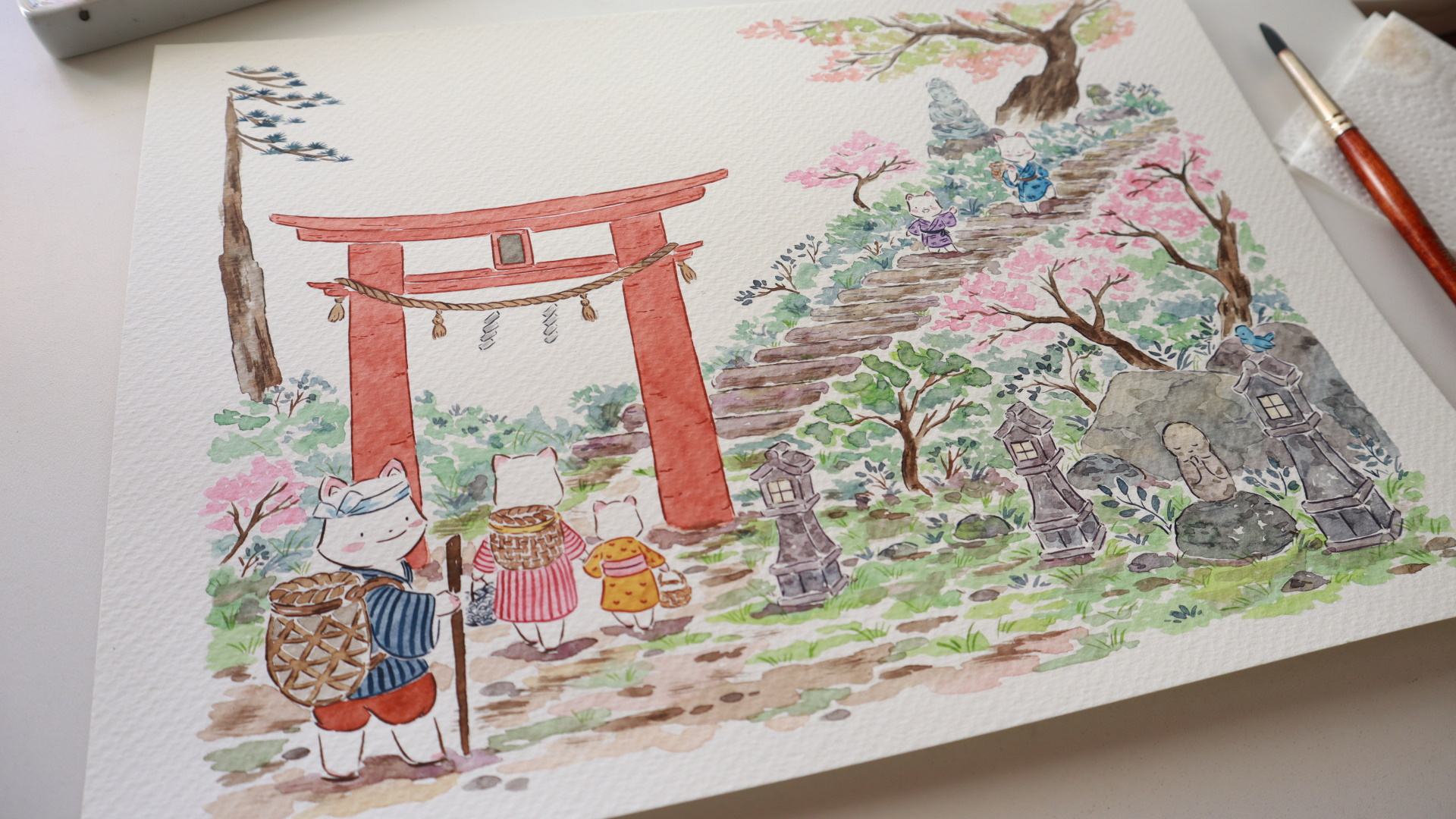 Flor Kaneshiro Senda Japanese watercolor